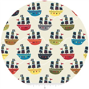 Lesley Grainger for Riley Blake, Treasure Map, Boats Cream
