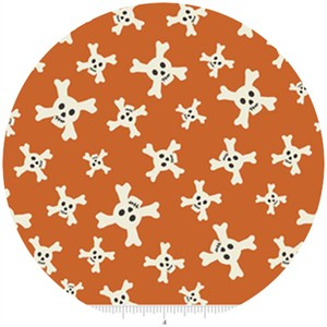 Lesley Grainger for Riley Blake, Treasure Map, Skulls Orange