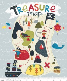 Lesley Grainger for Riley Blake, Treasure Map, Treasure Panel Gray (1 Yard Panel)