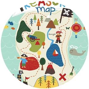 Lesley Grainger for Riley Blake, Treasure Map, Treasure Panel Teal (1 Yard Panel)