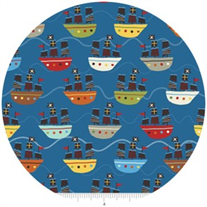 Lesley Grainger for Riley Blake, Treasure Map, Boats Navy