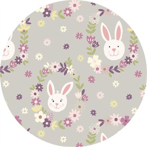 Lewis & Irene, Bunny Garden, Bunny Wreath Light Grey