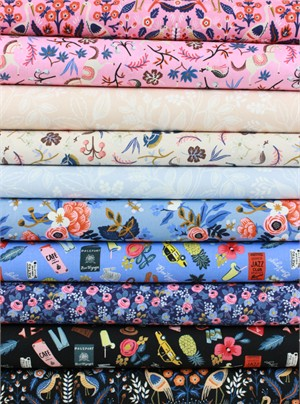 Rifle Paper Co. for Cotton and Steel, Les Fleurs in FAT QUARTERS 9 Total
