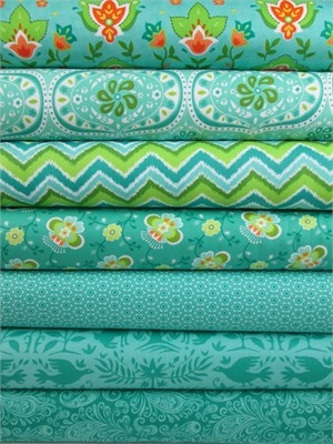 Lily Ashbury for Moda, Folklore, Peacock in FAT QUARTERS 5 Total