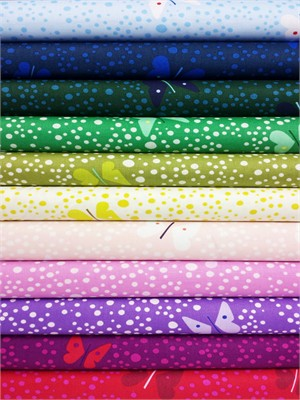 Lizzy House, Butterflies, Chasing the Rainbow in FAT QUARTERS 10 Total (PRE-CUT)