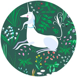 "Lizzy House, The Lovely Hunt, Unicorn Green (23"" Panel)"