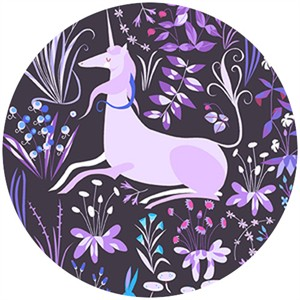 "Lizzy House, The Lovely Hunt, Unicorn Violet (23"" Panel)"