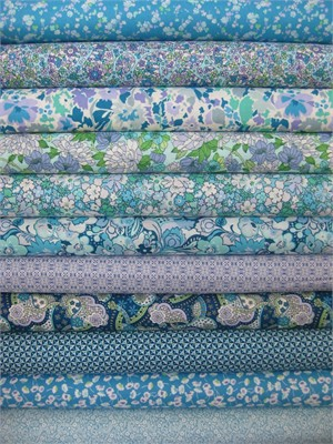 Liberty Lifestyle Fabrics, Pale Blue in FAT QUARTERS 10 Total