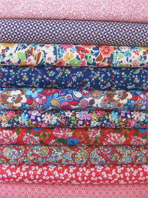 Liberty Lifestyle Fabrics, Rich Red Blue in FAT QUARTERS 10 Total