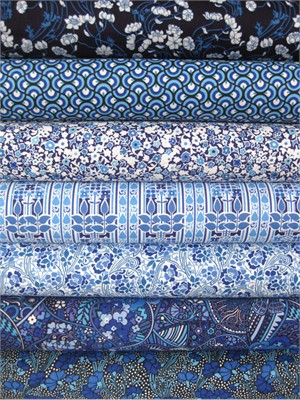 Liberty Lifestyle Fabrics, Stile, Teal in FAT QUARTERS, 6 Total