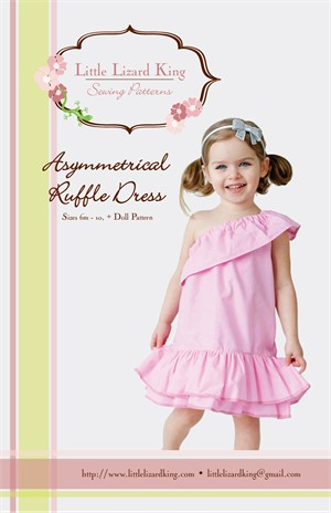 Little Lizard King Sewing Patterns, Asymmetrical Ruffle Dress