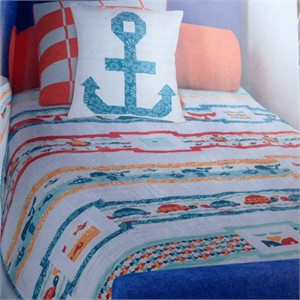 Love at Sea Quilt Kit featuring prints from Marine Too