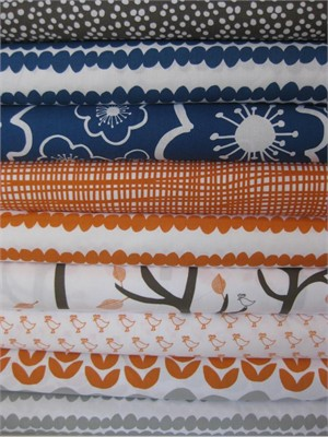 Lotta Jansdotter, Bella, Royal Orange in FAT QUARTERS, 9 Total(LAST BUNDLE)