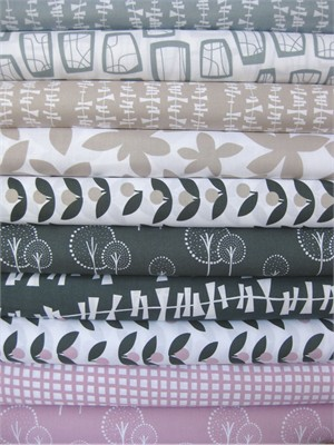 Lotta Jansdotter, Glimma, Light Family in FAT QUARTERS, 9 Total