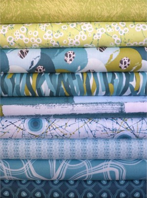 Lori Mason, Mineral Forest, Azure in FAT QUARTERS 9 Total(Pre-cut)