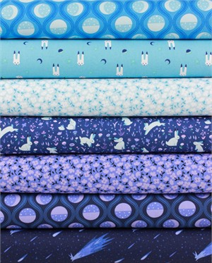 Felice Regina for Windham Fabrics, Luna Sol, Midnight in FAT QUARTERS 7 Total