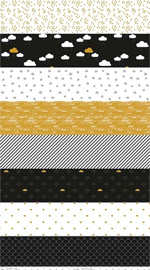 Simple Simon & Company for Riley Blake, When Skies Are Grey, METALLIC, Stripe Black