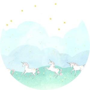 Sarah Jane for Michael Miller, MINKY, Unicorn Parade Mint (Double border print)