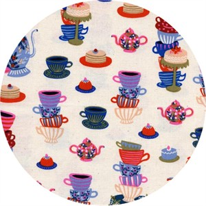 Rifle Paper Co. for Cotton and Steel, Wonderland, Mad Tea Party Neutral