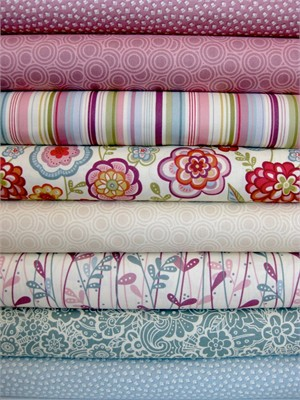 Makower, Deco Flowers, Dawn in FAT QUARTERS, 7 Total