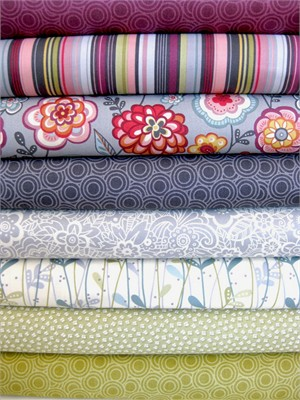 Makower, Deco Flowers, Dusk in FAT QUARTERS, 8 Total