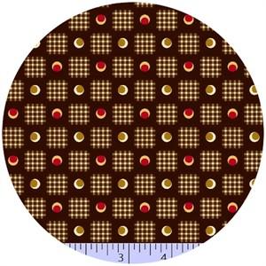 Marcus Fabrics, Retro Geo, Check Dots Espresso