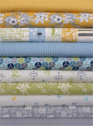 Mary Jane for Moda, Bee My Honey, Grey/Yellow in FAT QUARTERS 10 Total