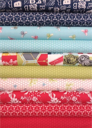 Mary Jane for Moda, Bee My Honey, Red/Navy in FAT QUARTERS 10 Total