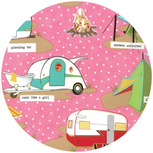 Mary Jane for Moda, Glamping, Glamp Like A Girl Pink