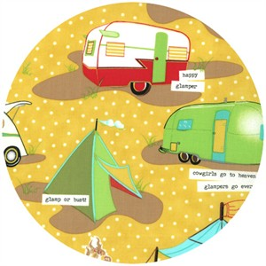 Mary Jane for Moda, Glamping, Glamp Like A Girl Yellow