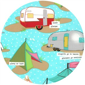Mary Jane for Moda, Glamping, LAMINATE, Glamp Like A Girl Aqua