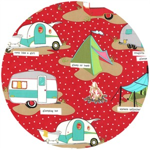 Mary Jane for Moda, Glamping, LAMINATE, Glamp Like A Girl Red