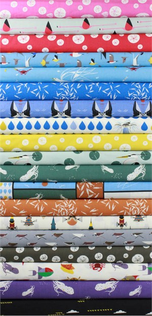 Charley Harper for Birch Organic Fabrics, Maritime, Entire Collection in FAT QUARTERS 19 Total (PRECUT)