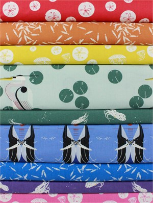 Fabricworm Custom Bundle, ORGANIC, Maritime Rainbow in FAT QUARTERS 9 Total
