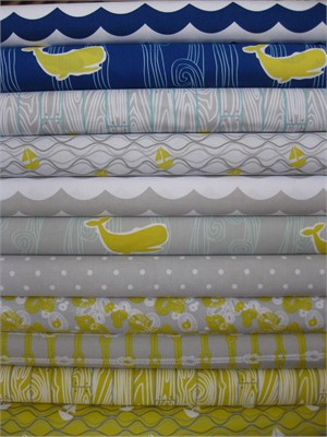 Marin Sutton, Maritime Modern, Gray in FAT QUARTERS 10 Total  (LAST BUNDLE)