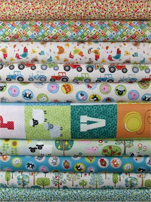 Makower UK, Jolly Farm in FAT QUARTERS 10 Total