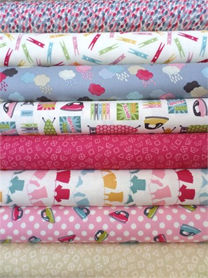 Makower UK, Wash Day, Pink/Cream in FAT QUARTERS 8 Total