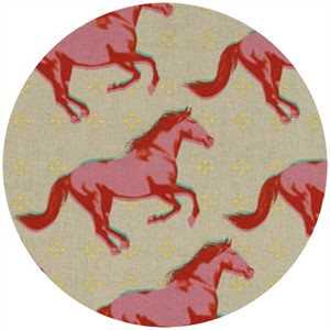 Melody Miller for Cotton and Steel, Mustang, CANVAS, Gallop Pink (Metallic)