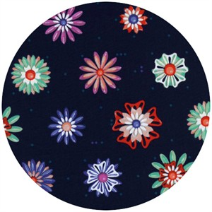 Melody Miller for Cotton and Steel, Picnic, Enamel Flowers Navy