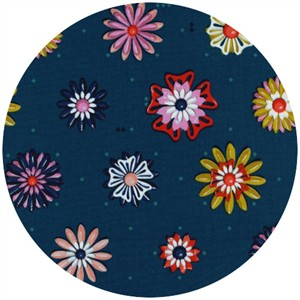 Melody Miller for Cotton and Steel, Picnic, Enamel Flowers Teal