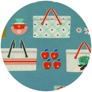 Melody Miller for Cotton and Steel, Picnic, Picnic Baskets Blue