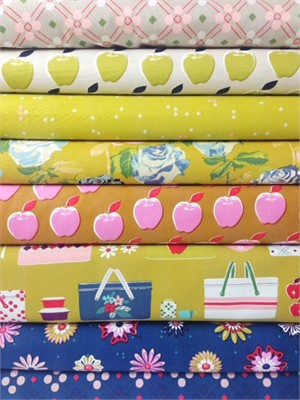 Melody Miller for Cotton and Steel, Picnic, Mustard in FAT QUARTERS 8 Total