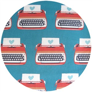 Melody Miller for Kokka, Ruby Star Shining, Typewriters Turquoise