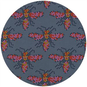 Melody Miller for Cotton and Steel, Mustang, I Heart Bees Blue Grey