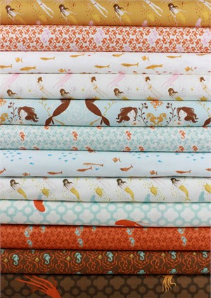 Heather Ross for Windham, Mendocino, Blue in FAT QUARTERS 11 Total