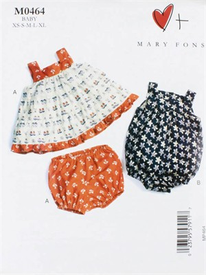 Mary Fons, Sewing Pattern, Baby Dress, Bloomers, and Romper
