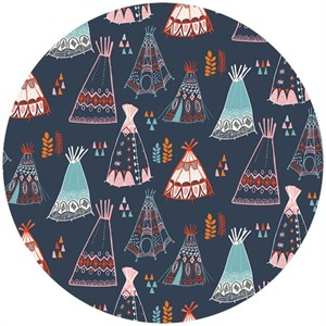 Miriam Bos for Birch Organic Fabrics, Wildland, KNIT, Teepees Dusk