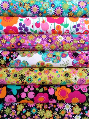 Michael Miller, Floral Burst in FAT QUARTERS, 6 Total