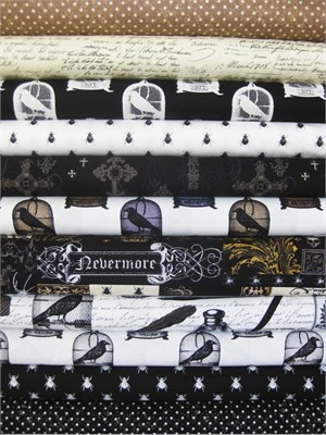 Michael Miller, Nevermore, in Fat Quarters 11 Total