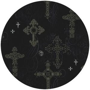 Michael Miller, Nevermore, Ornate Crosses Black